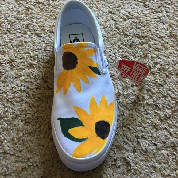 d28c8f2d235a Brand New Slip On Vans - Hand Painted Sunflowers